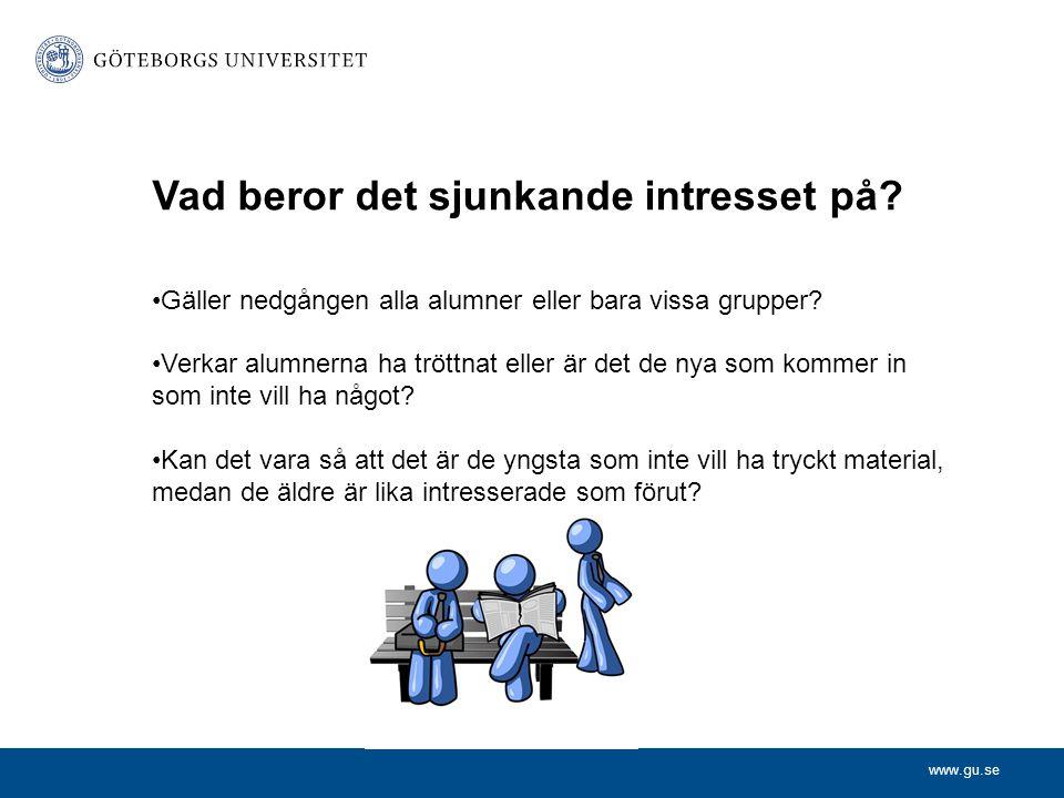 www.gu.se Vad beror det sjunkande intresset på? •Gäller nedgången alla alumner eller bara vissa grupper? •Verkar alumnerna ha tröttnat eller är det de