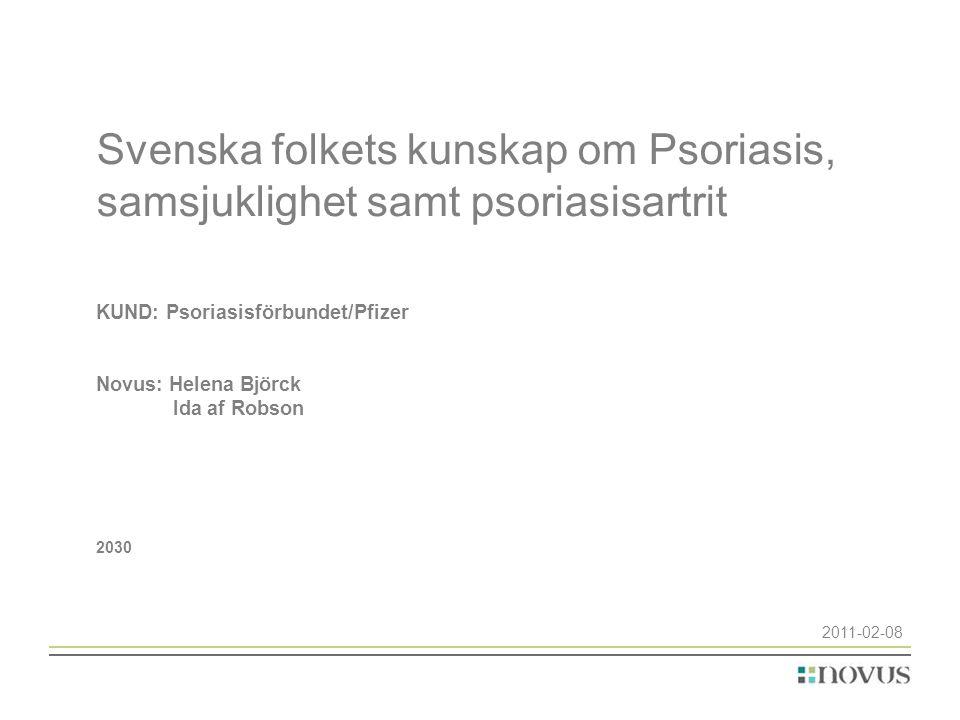 Svenska folkets kunskap om Psoriasis, samsjuklighet samt psoriasisartrit KUND: Psoriasisförbundet/Pfizer Novus: Helena Björck Ida af Robson 2030 2011-