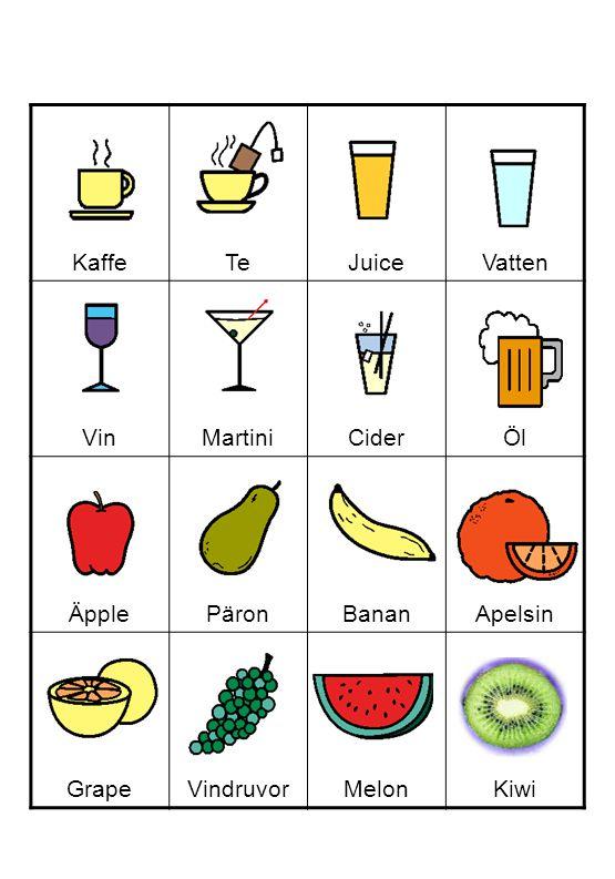 KaffeTeJuiceVatten VinMartiniCiderÖl ÄpplePäronBananApelsin GrapeVindruvorMelonKiwi