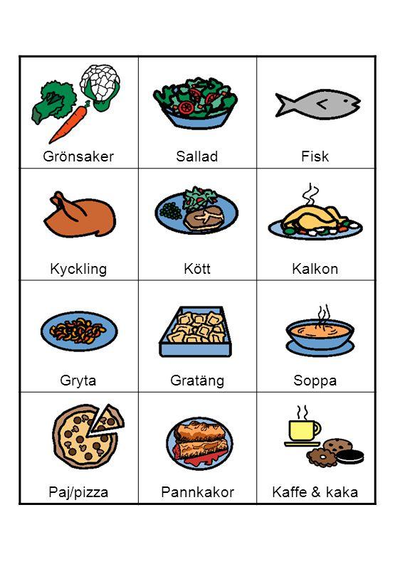 GrönsakerSalladFisk KycklingKöttKalkon GrytaGratängSoppa Paj/pizzaPannkakorKaffe & kaka