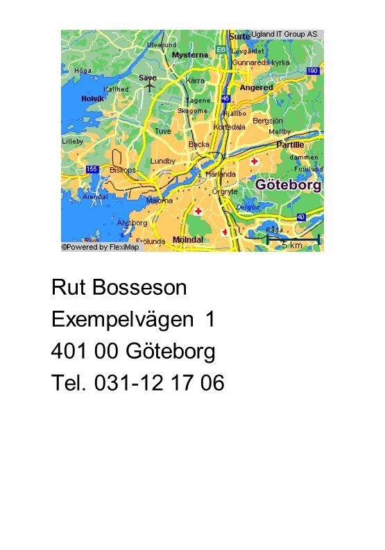 Rut Bosseson Exempelvägen 1 401 00 Göteborg Tel. 031-12 17 06