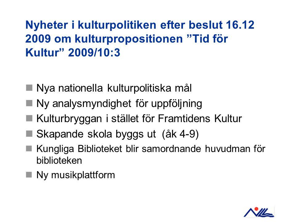 """Nyheter i kulturpolitiken efter beslut 16.12 2009 om kulturpropositionen """"Tid för Kultur"""" 2009/10:3  Nya nationella kulturpolitiska mål  Ny analysmy"""