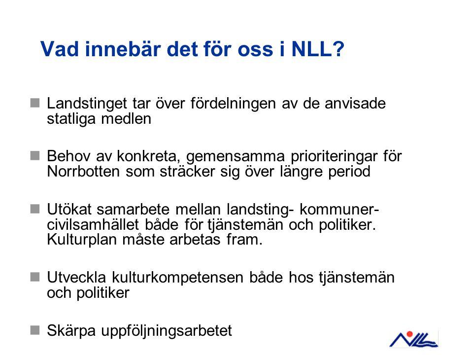 Vad innebär det för oss i NLL?  Landstinget tar över fördelningen av de anvisade statliga medlen  Behov av konkreta, gemensamma prioriteringar för N