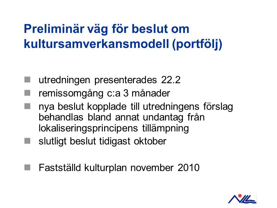 Preliminär väg för beslut om kultursamverkansmodell (portfölj)  utredningen presenterades 22.2  remissomgång c:a 3 månader  nya beslut kopplade till utredningens förslag behandlas bland annat undantag från lokaliseringsprincipens tillämpning  slutligt beslut tidigast oktober  Fastställd kulturplan november 2010