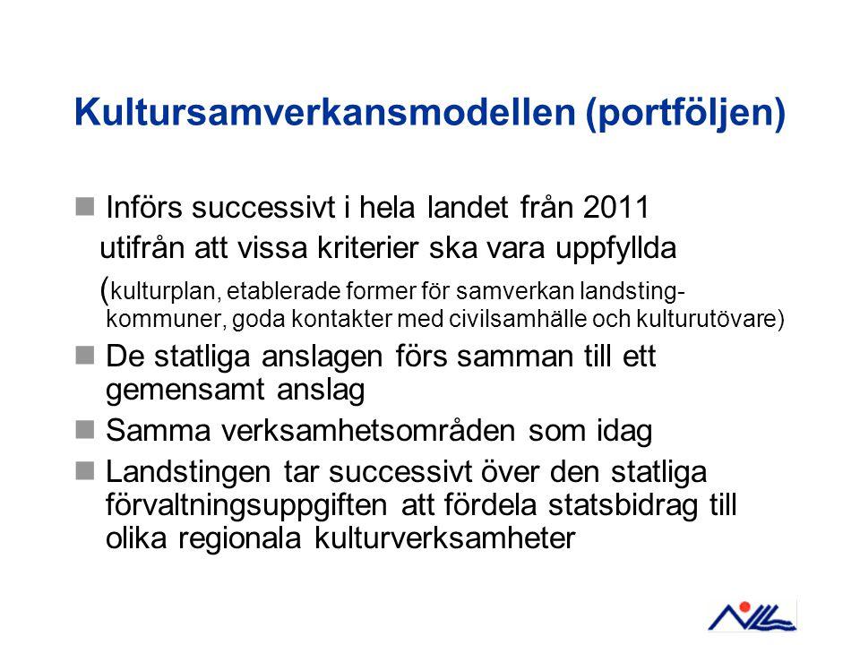 Kultursamverkansmodellen (portföljen)  Införs successivt i hela landet från 2011 utifrån att vissa kriterier ska vara uppfyllda ( kulturplan, etabler