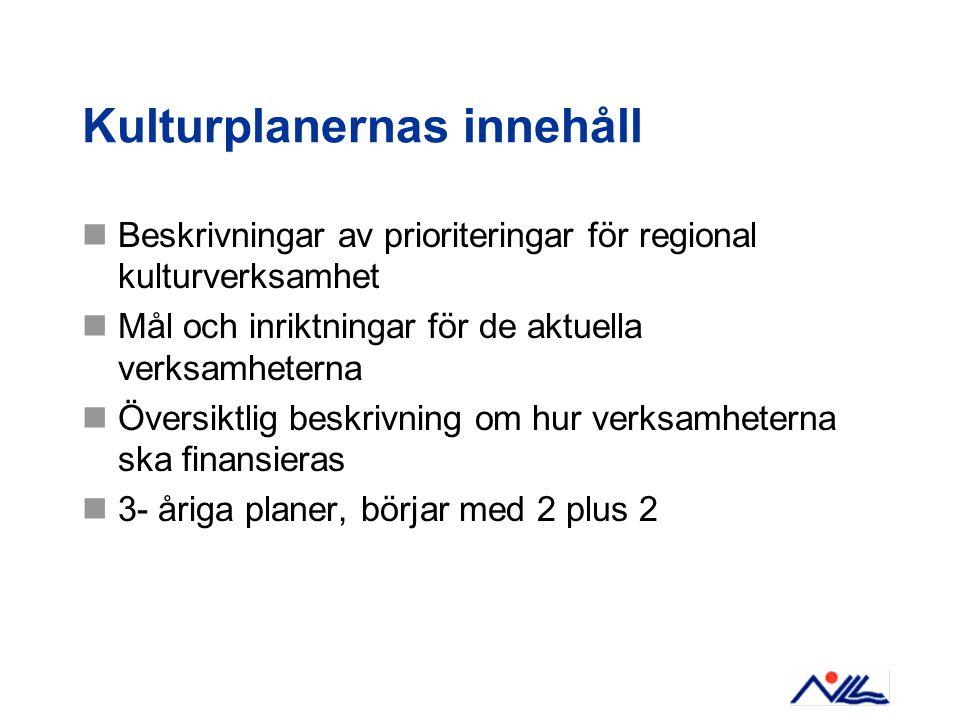 Kulturplanernas innehåll  Beskrivningar av prioriteringar för regional kulturverksamhet  Mål och inriktningar för de aktuella verksamheterna  Översiktlig beskrivning om hur verksamheterna ska finansieras  3- åriga planer, börjar med 2 plus 2