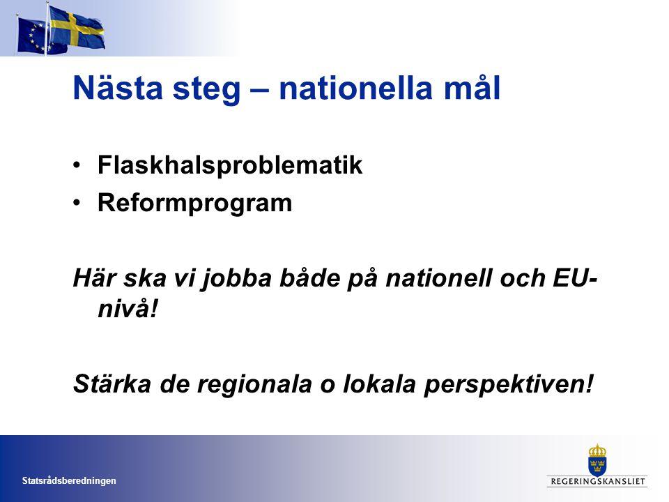 Statsrådsberedningen Nästa steg – nationella mål •Flaskhalsproblematik •Reformprogram Här ska vi jobba både på nationell och EU- nivå! Stärka de regio