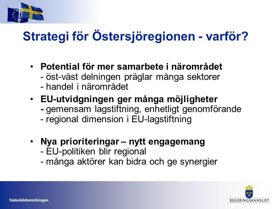 Statsrådsberedningen Strategi för Östersjöregionen - varför? •Potential för mer samarbete i närområdet - öst-väst delningen präglar många sektorer - h