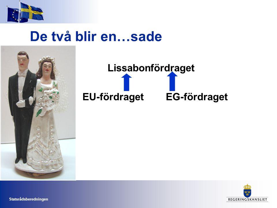 Statsrådsberedningen De två blir en…sade Lissabonfördraget EU-fördraget EG-fördraget
