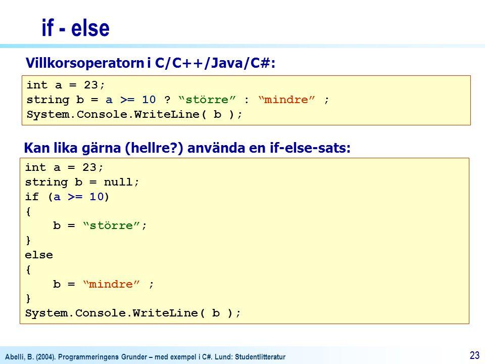 "Abelli, B. (2004). Programmeringens Grunder – med exempel i C#. Lund: Studentlitteratur 23 if - else int a = 23; string b = a >= 10 ? ""större"" : ""mind"
