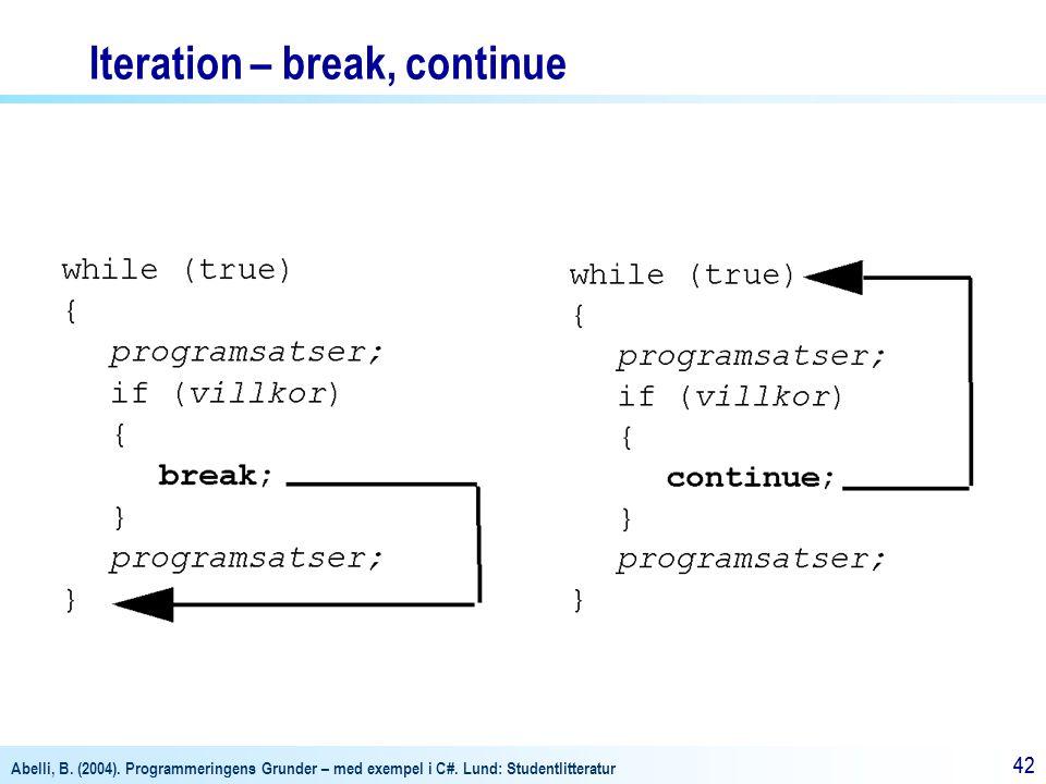 Abelli, B. (2004). Programmeringens Grunder – med exempel i C#. Lund: Studentlitteratur 42 Iteration – break, continue