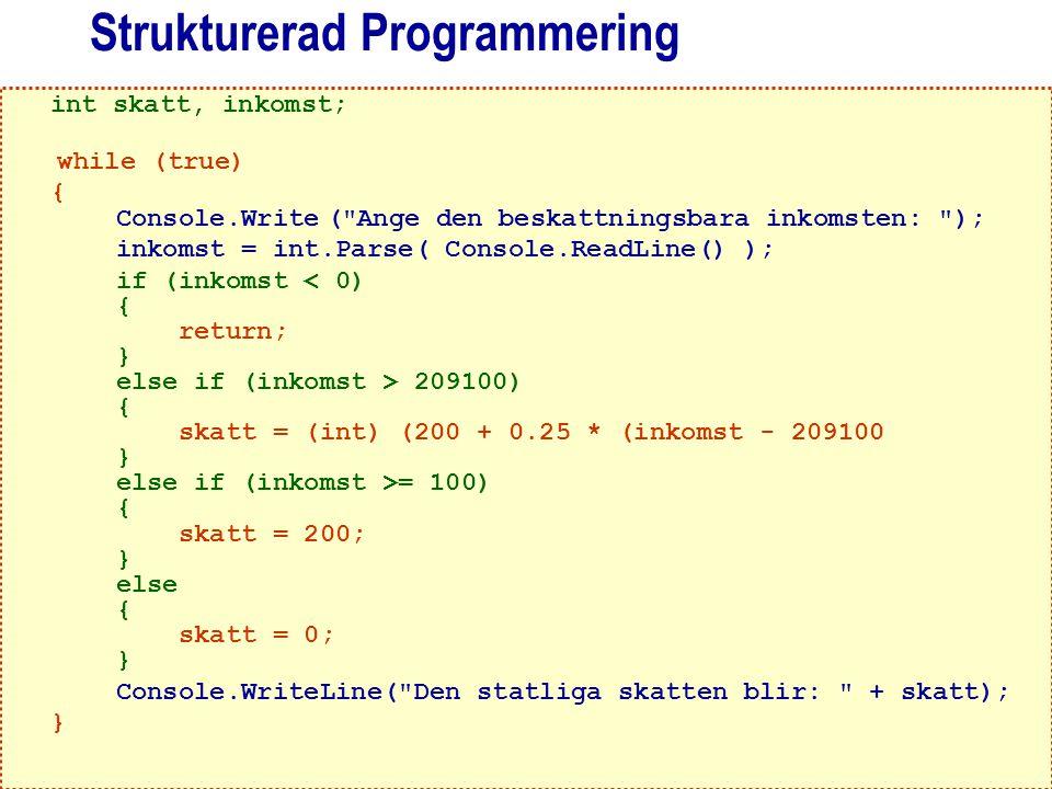 Abelli, B. (2004). Programmeringens Grunder – med exempel i C#. Lund: Studentlitteratur 57 Strukturerad Programmering int skatt, inkomst; while (true)