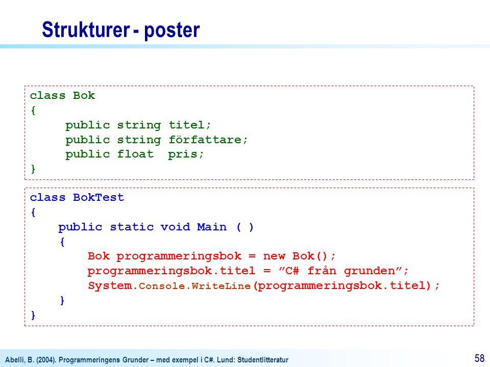 Abelli, B. (2004). Programmeringens Grunder – med exempel i C#. Lund: Studentlitteratur 58 Strukturer - poster class Bok { public string titel; public