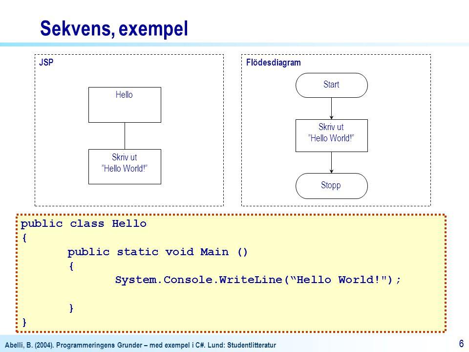 """Abelli, B. (2004). Programmeringens Grunder – med exempel i C#. Lund: Studentlitteratur 66 FlödesdiagramJSP Skriv ut """"Hello World!"""" Hello Start Stopp"""