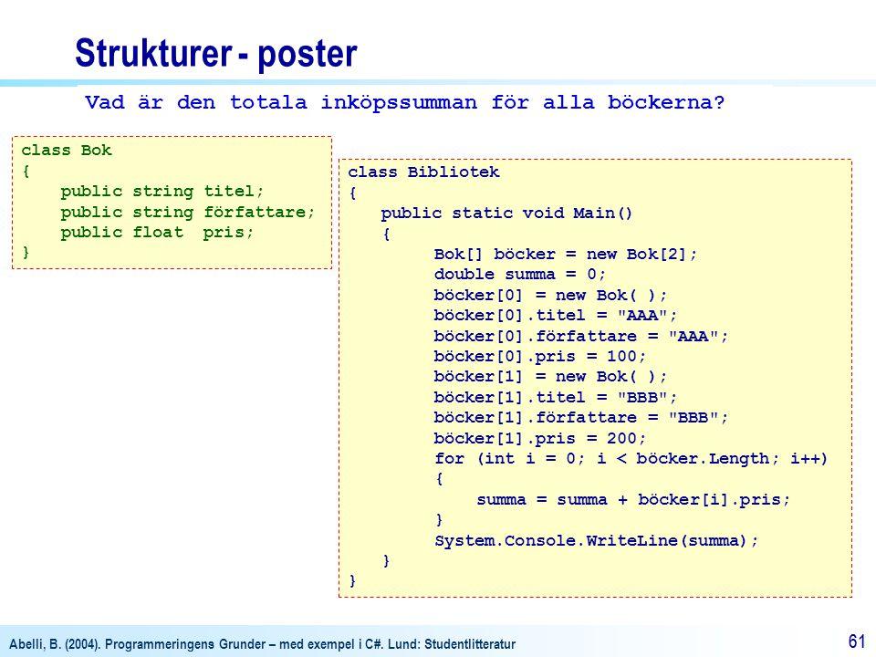 Abelli, B. (2004). Programmeringens Grunder – med exempel i C#. Lund: Studentlitteratur 61 Strukturer - poster class Bok { public string titel; public