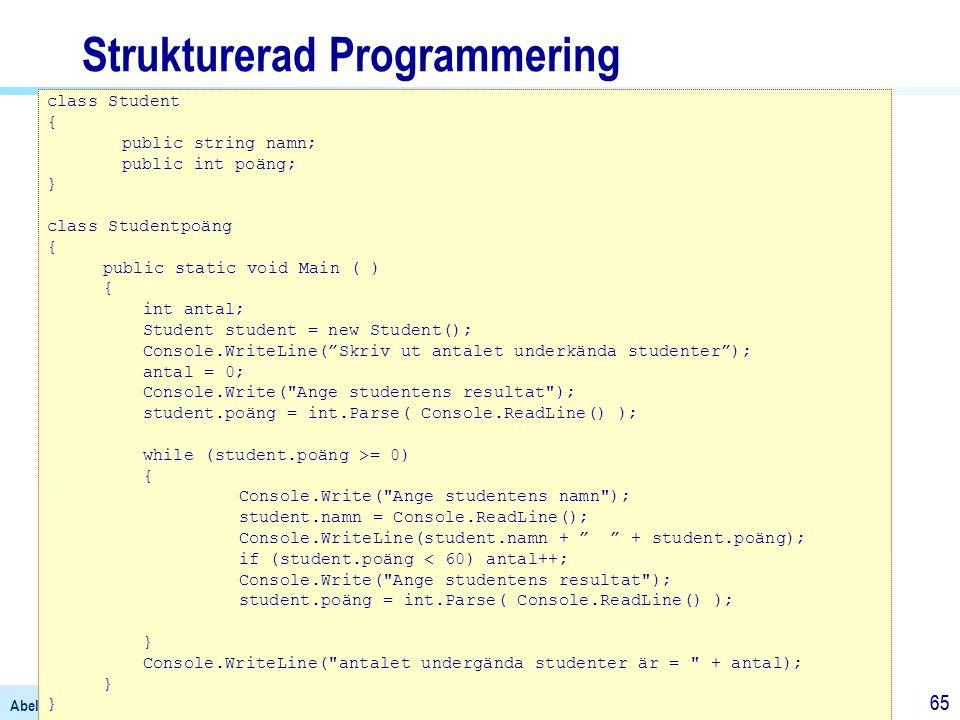 Abelli, B. (2004). Programmeringens Grunder – med exempel i C#. Lund: Studentlitteratur 65 Strukturerad Programmering class Student { public string na