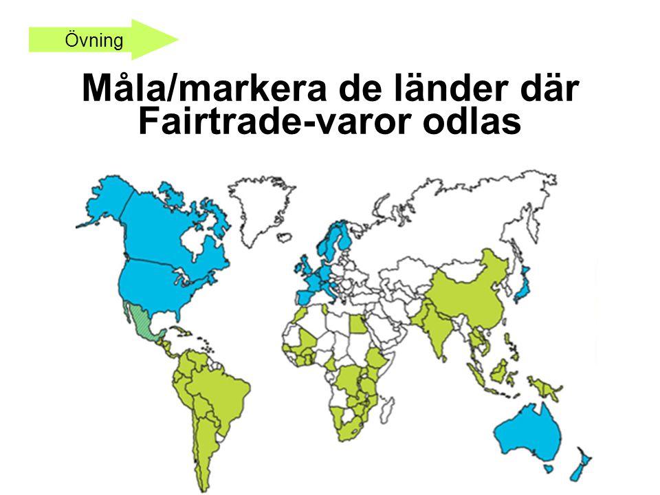 Övning Måla/markera de länder där Fairtrade-varor odlas
