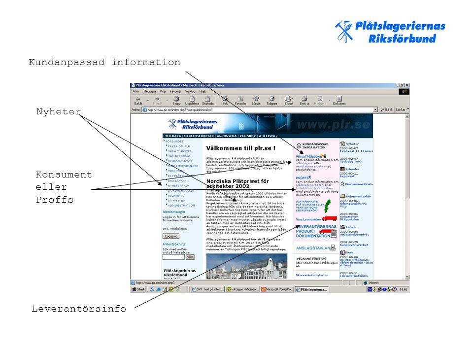Kundanpassad information Nyheter Leverantörsinfo Konsument eller Proffs