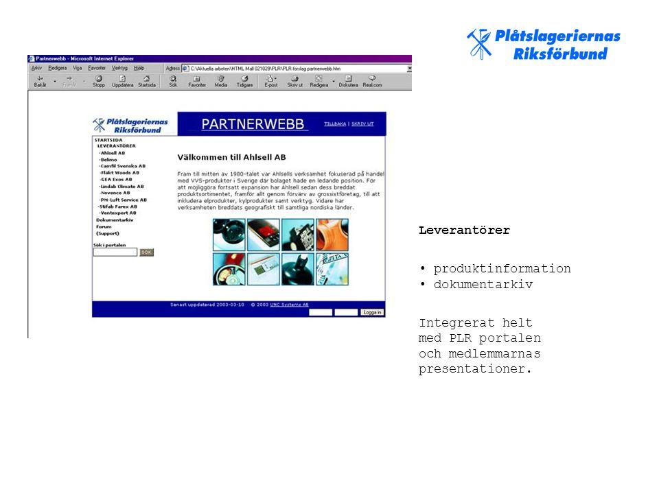 Leverantörer • produktinformation • dokumentarkiv Integrerat helt med PLR portalen och medlemmarnas presentationer.