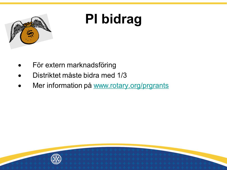 PI bidrag  För extern marknadsföring  Distriktet måste bidra med 1/3  Mer information på www.rotary.org/prgrantswww.rotary.org/prgrants
