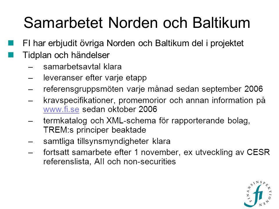 Samarbetet Norden och Baltikum  FI har erbjudit övriga Norden och Baltikum del i projektet  Tidplan och händelser –samarbetsavtal klara –leveranser
