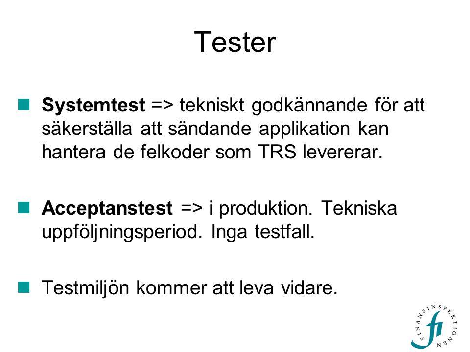 Tester  Systemtest => tekniskt godkännande för att säkerställa att sändande applikation kan hantera de felkoder som TRS levererar.  Acceptanstest =>