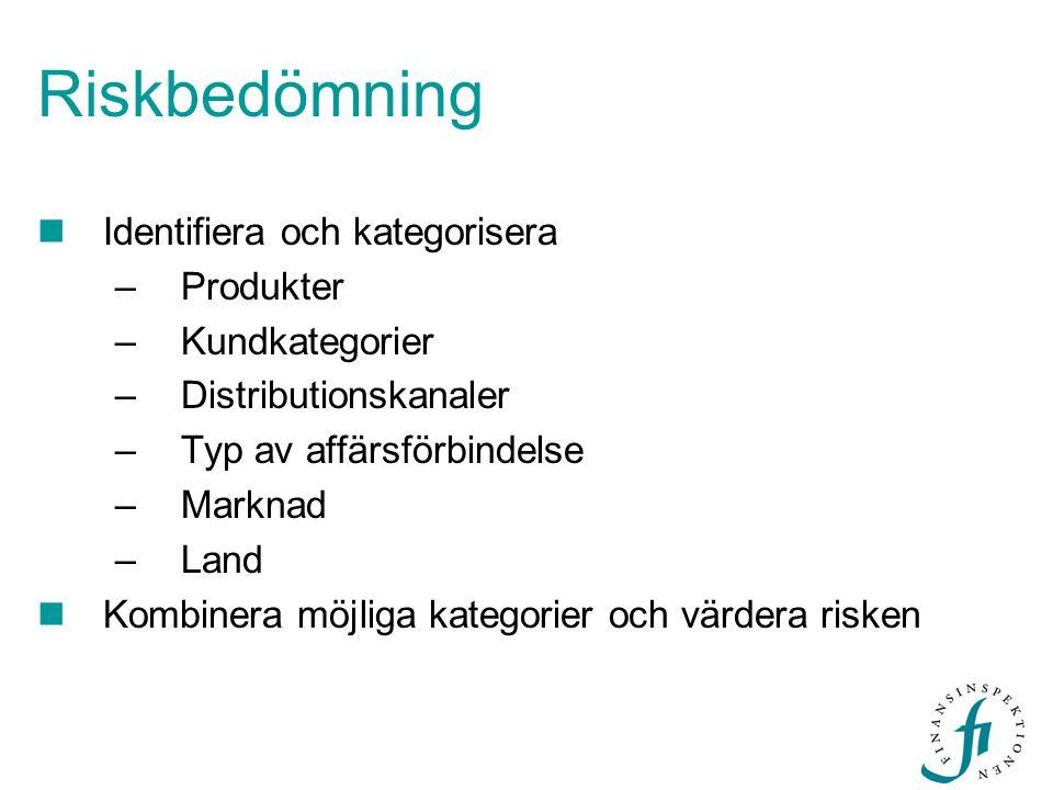Riskbedömning  Identifiera och kategorisera –Produkter –Kundkategorier –Distributionskanaler –Typ av affärsförbindelse –Marknad –Land  Kombinera möj