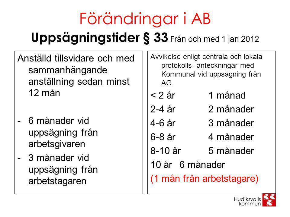 Förändringar i AB Uppsägningstider § 33 F rån och med 1 jan 2012 Anställd tillsvidare och med sammanhängande anställning sedan minst 12 mån -6 månader