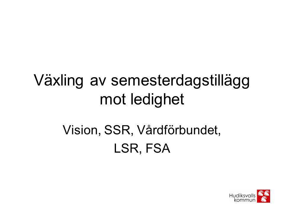 Växling av semesterdagstillägg mot ledighet Vision, SSR, Vårdförbundet, LSR, FSA
