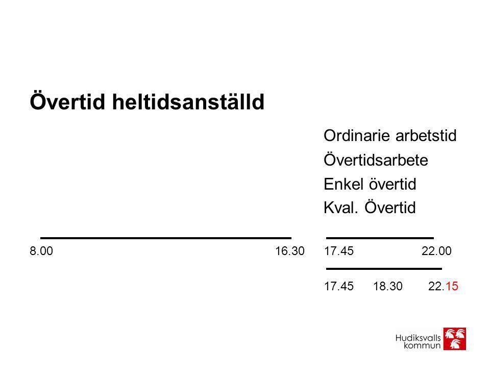 Övertid heltidsanställd Ordinarie arbetstid Övertidsarbete Enkel övertid Kval. Övertid 8.0016.3017.4522.00 17.4518.30 22.15