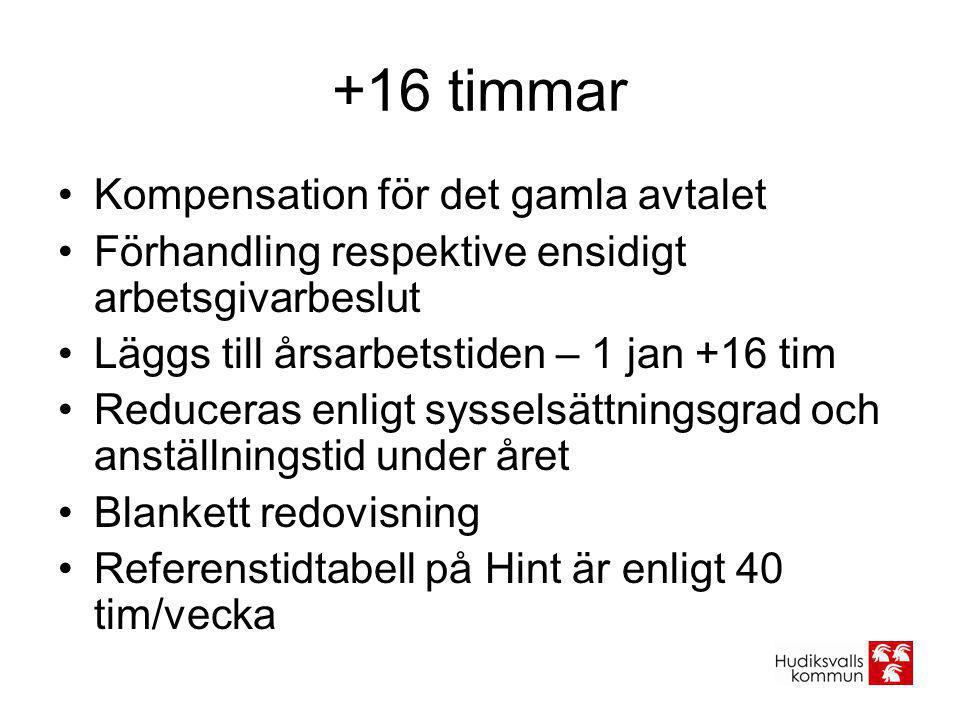 +16 timmar •Kompensation för det gamla avtalet •Förhandling respektive ensidigt arbetsgivarbeslut •Läggs till årsarbetstiden – 1 jan +16 tim •Reducera