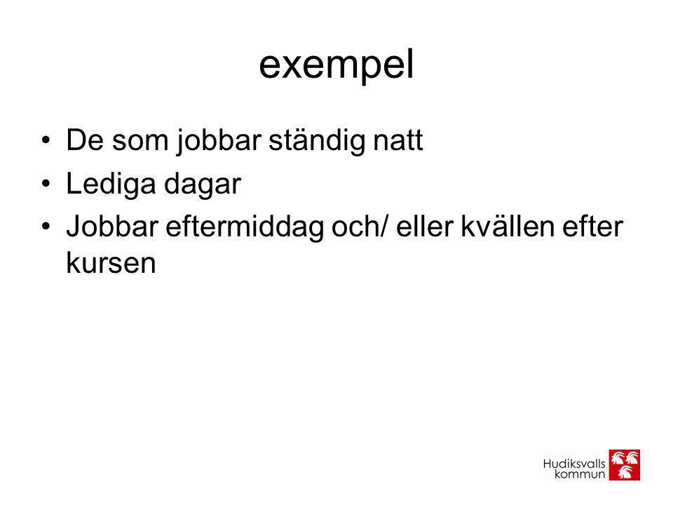 exempel •De som jobbar ständig natt •Lediga dagar •Jobbar eftermiddag och/ eller kvällen efter kursen