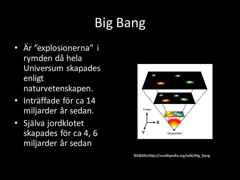 Big Bang • Är explosionerna i rymden då hela Universum skapades enligt naturvetenskapen.