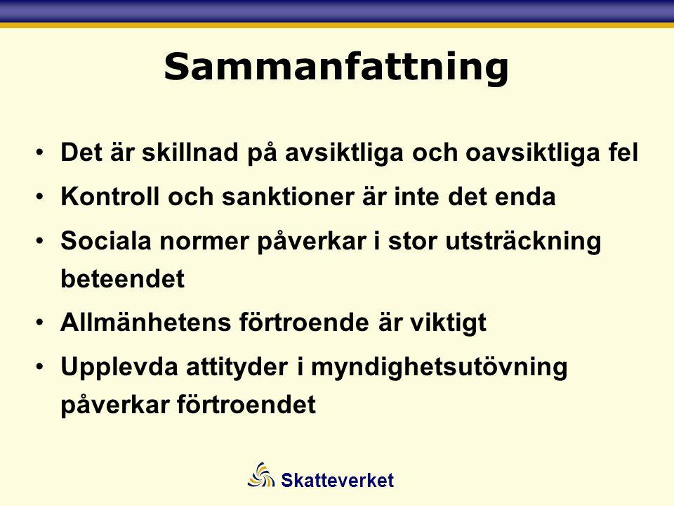 Skatteverket Sammanfattning •Det är skillnad på avsiktliga och oavsiktliga fel •Kontroll och sanktioner är inte det enda •Sociala normer påverkar i st