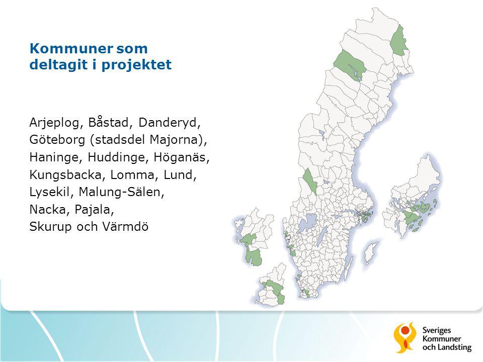 12 Kommuner som deltagit i projektet Arjeplog, Båstad, Danderyd, Göteborg (stadsdel Majorna), Haninge, Huddinge, Höganäs, Kungsbacka, Lomma, Lund, Lys