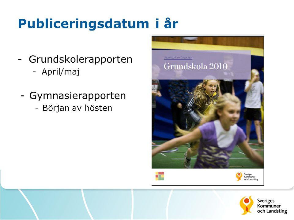 Publiceringsdatum i år -Grundskolerapporten -April/maj -Gymnasierapporten -Början av hösten