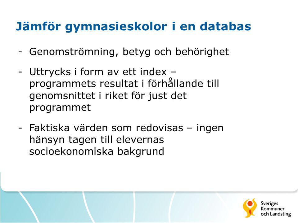 Jämför gymnasieskolor i en databas -Genomströmning, betyg och behörighet -Uttrycks i form av ett index – programmets resultat i förhållande till genom