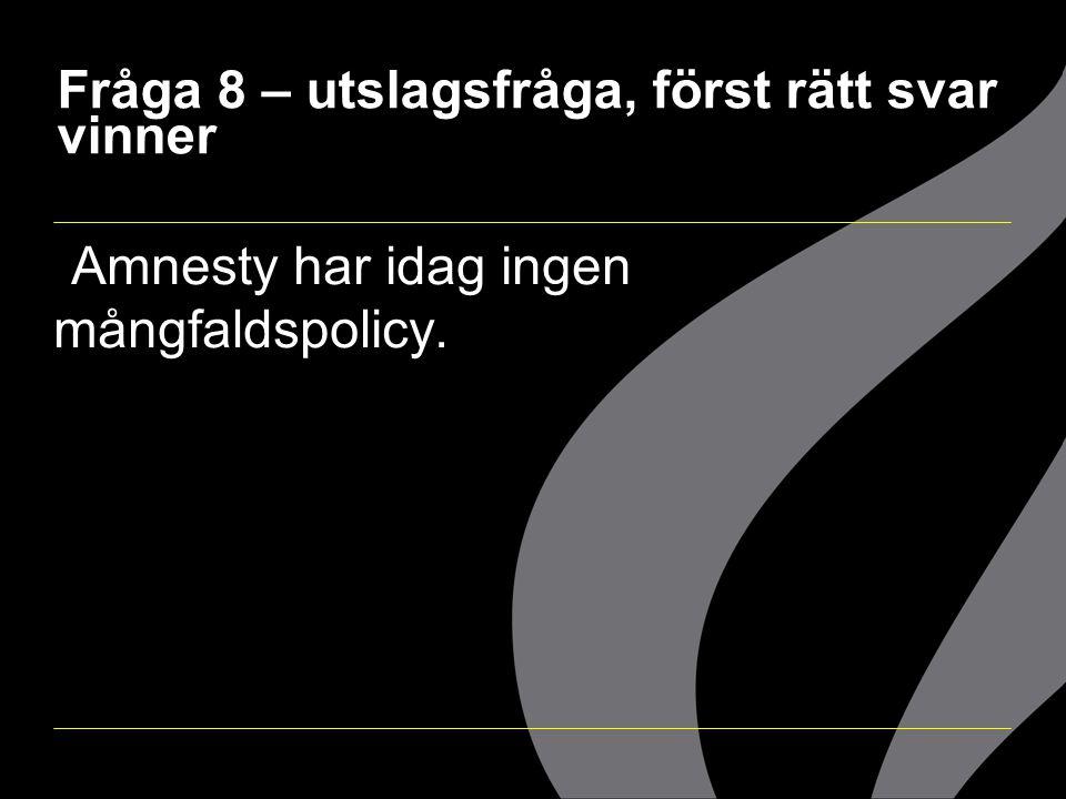  Amnesty har idag ingen mångfaldspolicy.