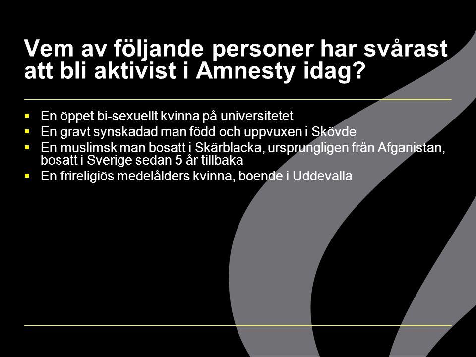 Vem av följande personer har svårast att bli aktivist i Amnesty idag?  En öppet bi-sexuellt kvinna på universitetet  En gravt synskadad man född och