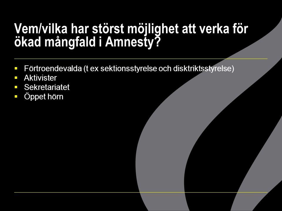 Vem/vilka har störst möjlighet att verka för ökad mångfald i Amnesty?  Förtroendevalda (t ex sektionsstyrelse och disktriktsstyrelse)  Aktivister 