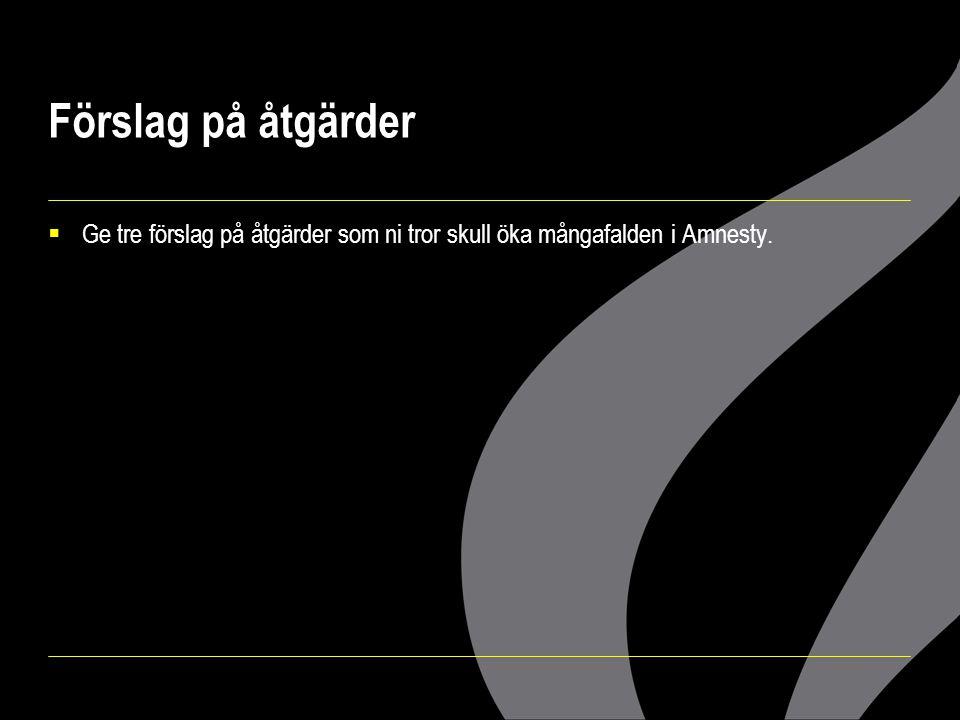 Förslag på åtgärder  Ge tre förslag på åtgärder som ni tror skull öka mångafalden i Amnesty.
