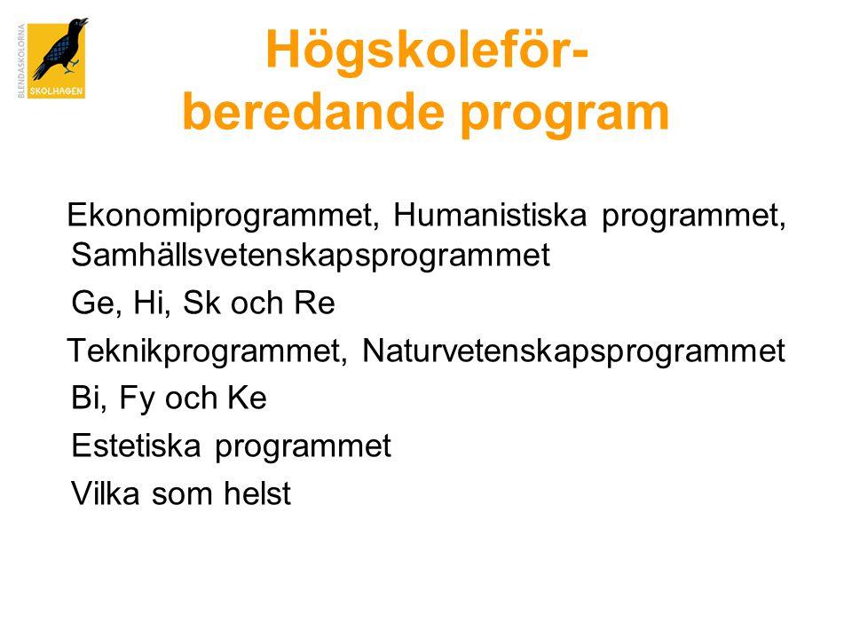 Högskoleför- beredande program Ekonomiprogrammet, Humanistiska programmet, Samhällsvetenskapsprogrammet Ge, Hi, Sk och Re Teknikprogrammet, Naturvetenskapsprogrammet Bi, Fy och Ke Estetiska programmet Vilka som helst