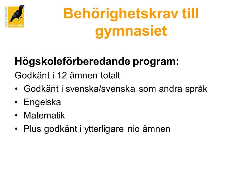 Behörighetskrav till gymnasiet Högskoleförberedande program: Godkänt i 12 ämnen totalt •Godkänt i svenska/svenska som andra språk •Engelska •Matematik •Plus godkänt i ytterligare nio ämnen