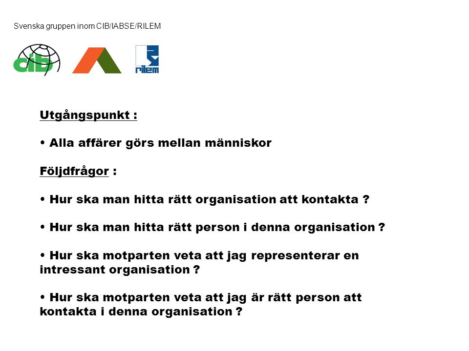 Svenska gruppen inom CIB/IABSE/RILEM Utgångspunkt : • Alla affärer görs mellan människor Följdfrågor : • Hur ska man hitta rätt organisation att konta