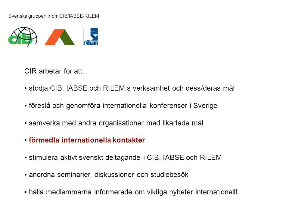 Svenska gruppen inom CIB/IABSE/RILEM CIR arbetar för att: • stödja CIB, IABSE och RILEM:s verksamhet och dess/deras mål • föreslå och genomföra intern