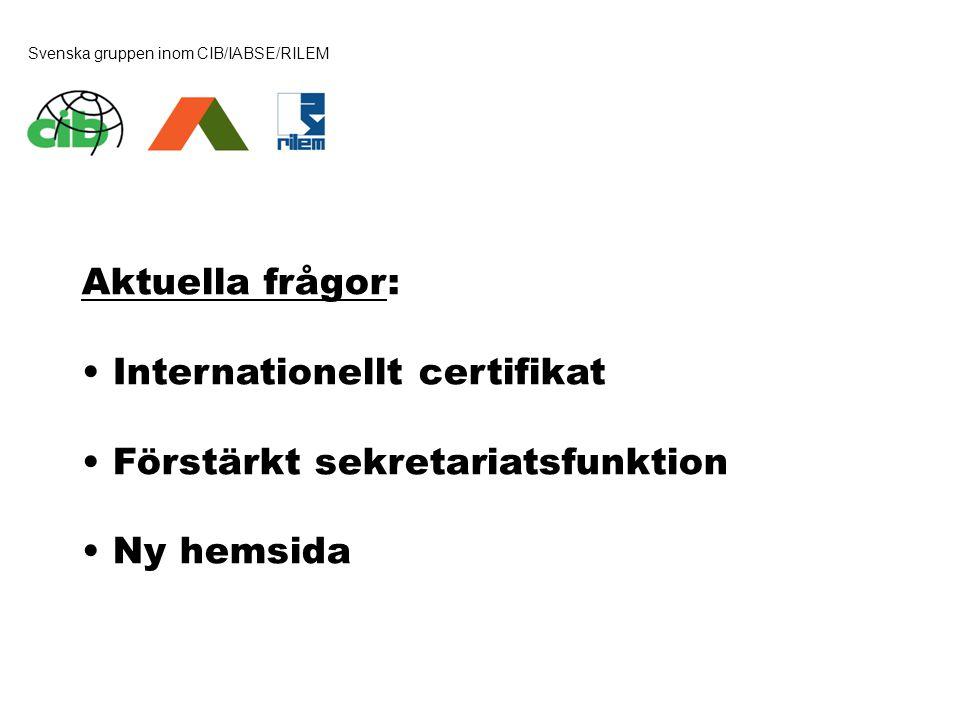 Svenska gruppen inom CIB/IABSE/RILEM Aktuella frågor: • Internationellt certifikat • Förstärkt sekretariatsfunktion • Ny hemsida