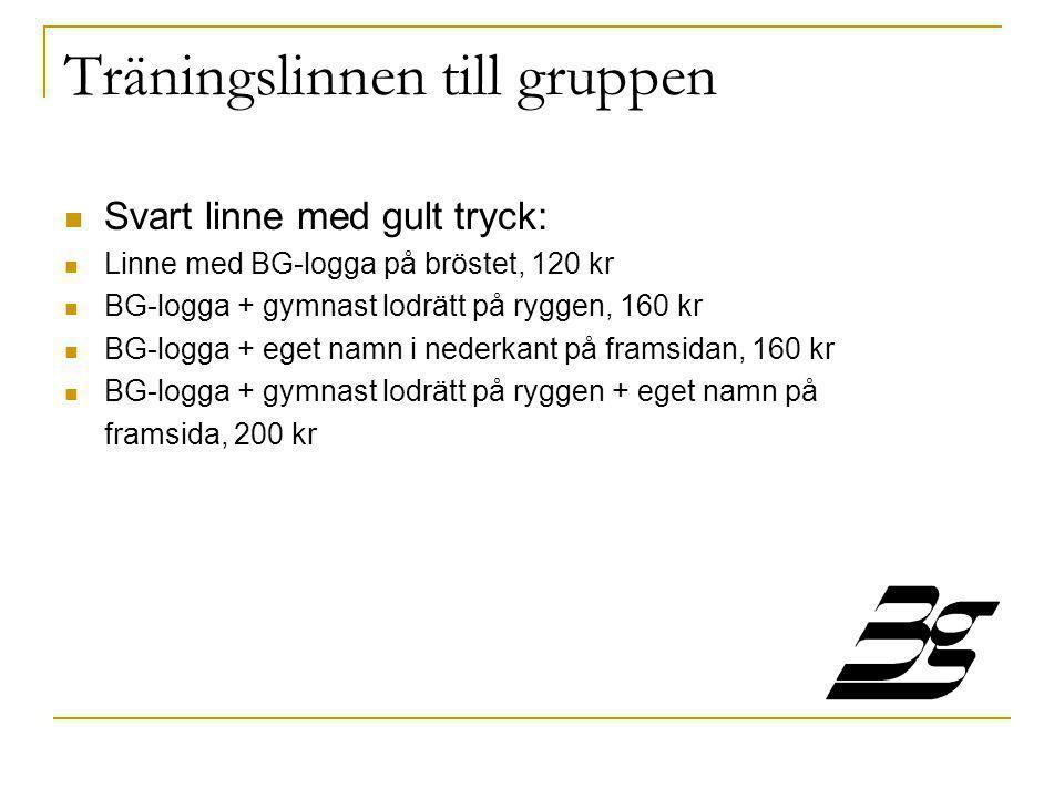 Träningslinnen till gruppen  Svart linne med gult tryck:  Linne med BG-logga på bröstet, 120 kr  BG-logga + gymnast lodrätt på ryggen, 160 kr  BG-