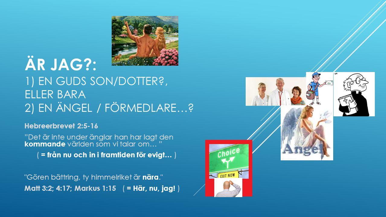 ÄR JAG?: 1) EN GUDS SON/DOTTER?, ELLER BARA 2) EN ÄNGEL / FÖRMEDLARE….