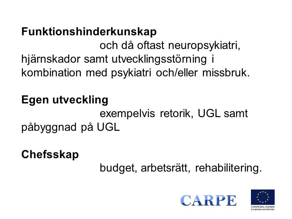 Funktionshinderkunskap och då oftast neuropsykiatri, hjärnskador samt utvecklingsstörning i kombination med psykiatri och/eller missbruk. Egen utveckl