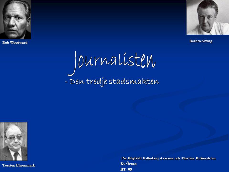 En Journalist: - Samlar in, framställer material för offentliga medier  Kulturskribent  Sportjournalist  Ledarskribent  Debattredaktör  Utrikeskorrespondent  Krönikör  Nyhetsankare (Redigerare, nyhetschefer, redaktionssekreterare, nattchefer och bildchefer)